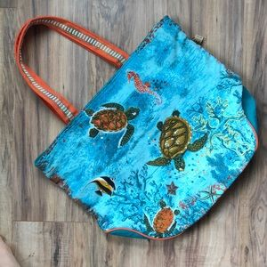 Paul Brent Teal Sea Turtle Beaded Canvas Tote Bag